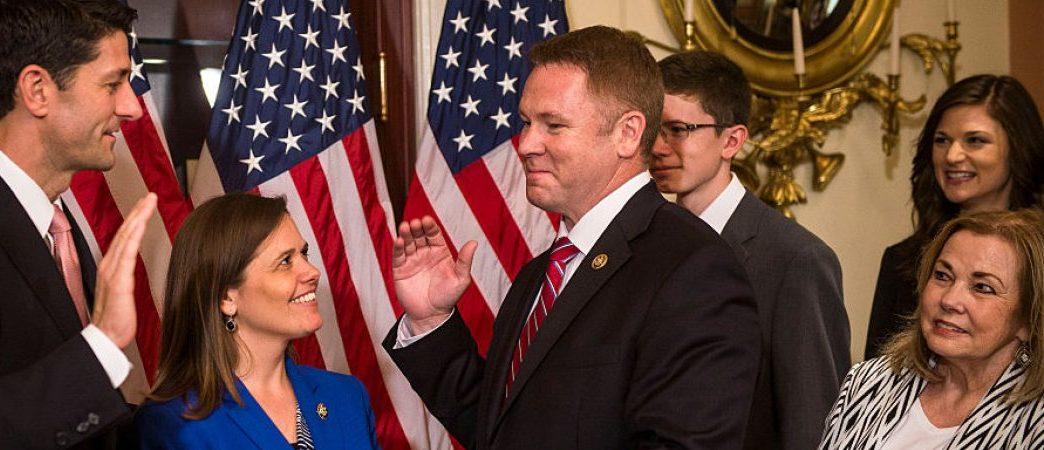 WASHINGTON, DC - JUNE 9: House Speaker Paul Ryan ceremonially swears in Rep. Warren Davidson (R-OH) at the Capitol on June 9, 2016 in Washington, D.C. Davidson replaced Speaker John Boehner's congressional seat when he left office. (Photo by Gabriella Demczuk/Getty Images)