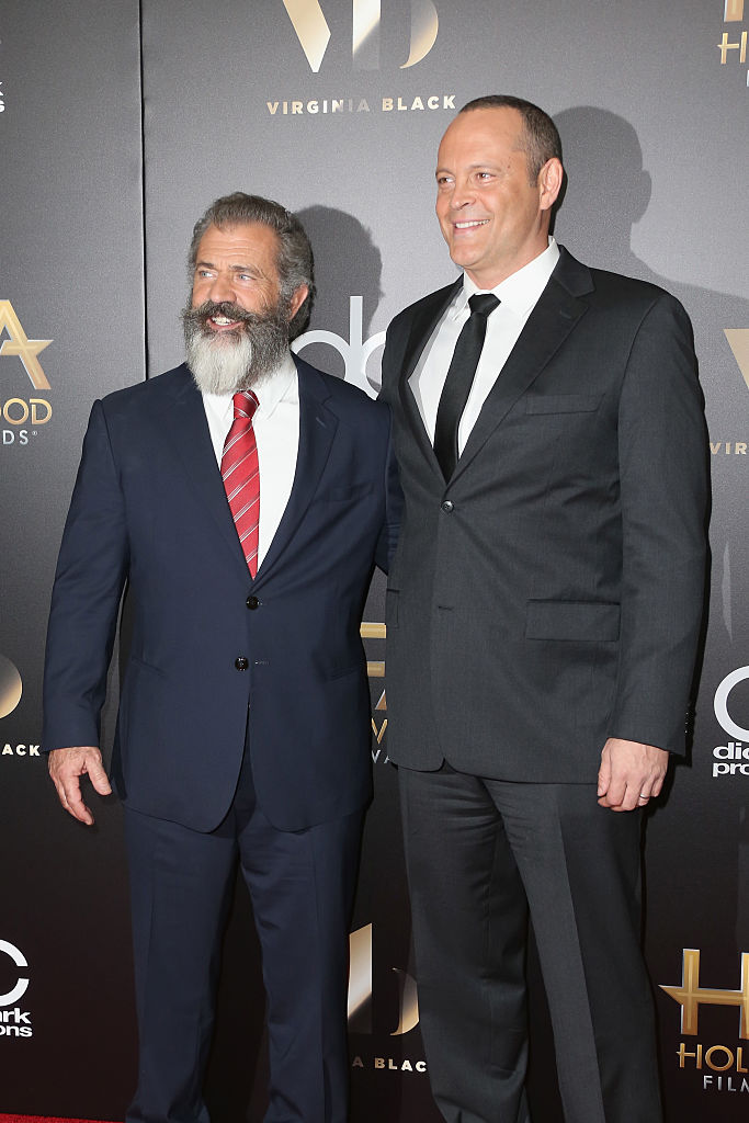 Director Mel Gibson (L) and actor Vince Vaughn attend the 20th Annual Hollywood Film Awards on November 6, 2016 in Beverly Hills, California. (Photo by Frederick M. Brown/Getty Images)