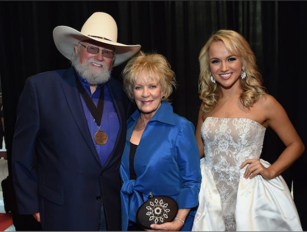 NASHVILLE, TN - NOVEMBER 02: Charlie Daniels, Hazel Daniels and Miss America Savvy Shields attend the 50th annual CMA Awards at the Bridgestone Arena on November 2, 2016 in Nashville, Tennessee. (Photo by Rick Diamond/Getty Images)