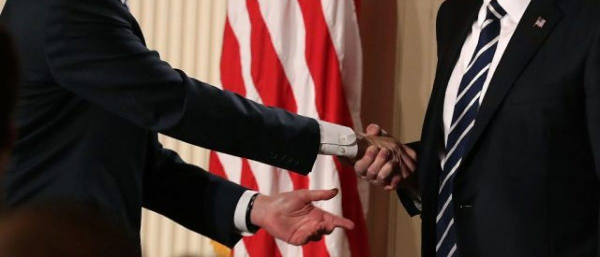 President Donald Trump shakes hands with Judge Neil Gorsuch after nominating him to the Supreme Court during a ceremony in the East Room of the White House January 31, 2017 in Washington, D.C.  (Photo by Chip Somodevilla/Getty Images)