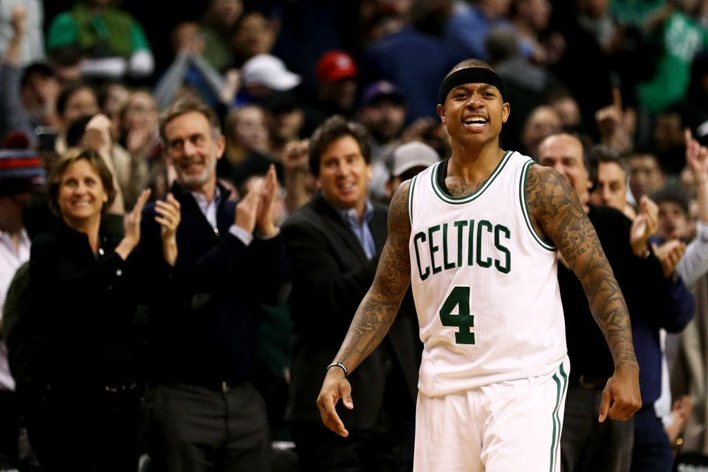 Isaiah Thomas #4 of the Boston Celtics celebrates during the fourth quarter against the Toronto Raptors at TD Garden on February 1, 2017 in Boston, Massachusetts. The Celtics defeat the Raptors 107-102. (Photo by Maddie Meyer/Getty Images)