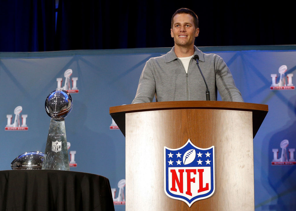 Super Bowl LI MVP Tom Brady talks with the media about their win over the Atlanta Falcons at the Super Bowl Winner and MVP press conference on February 6, 2017 in Houston, Texas. (Photo by Bob Levey/Getty Images)