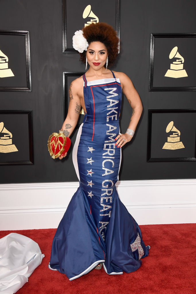 "Singer Joy Villa arrives at the Grammys in a ""Make America Great Again"" dress (Photo credit: Getty Images)"