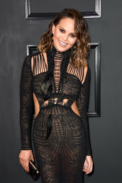 Model Chrissy Teigen attends The 59th GRAMMY Awards (Photo by Frazer Harrison/Getty Images)
