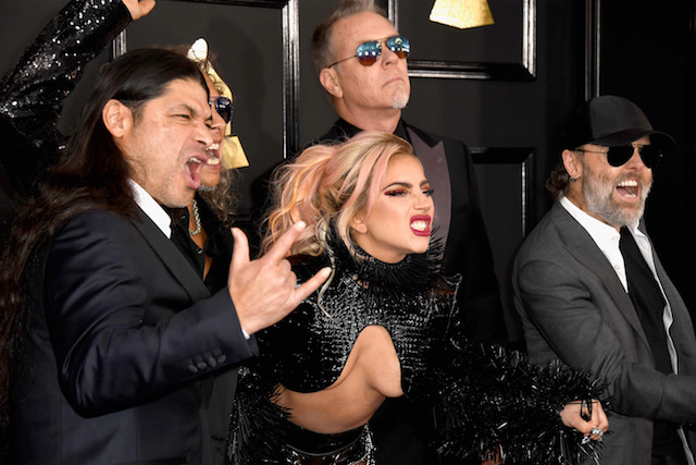 LOS ANGELES, CA - FEBRUARY 12: Singer Lady Gaga (C) with (L-R) musicians Robert Trujillo, Kirk Hammett, James Hetfield, and Lars Ulrich of Metallica attend The 59th GRAMMY Awards at STAPLES Center on February 12, 2017 in Los Angeles, California. (Photo by Frazer Harrison/Getty Images)