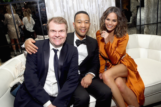 LOS ANGELES, CA - FEBRUARY 12: (L-R) CEO of Sony Music Entertainment Rob Stringer, recording artist John Legend and model Chrissy Teigen attend the Sony Music Entertainment 2017 Post-Grammy Reception at Hotel Bel-Air on February 12, 2017 in Los Angeles, California. (Photo by Jesse Grant/Getty Images for Sony Music Entertainment )