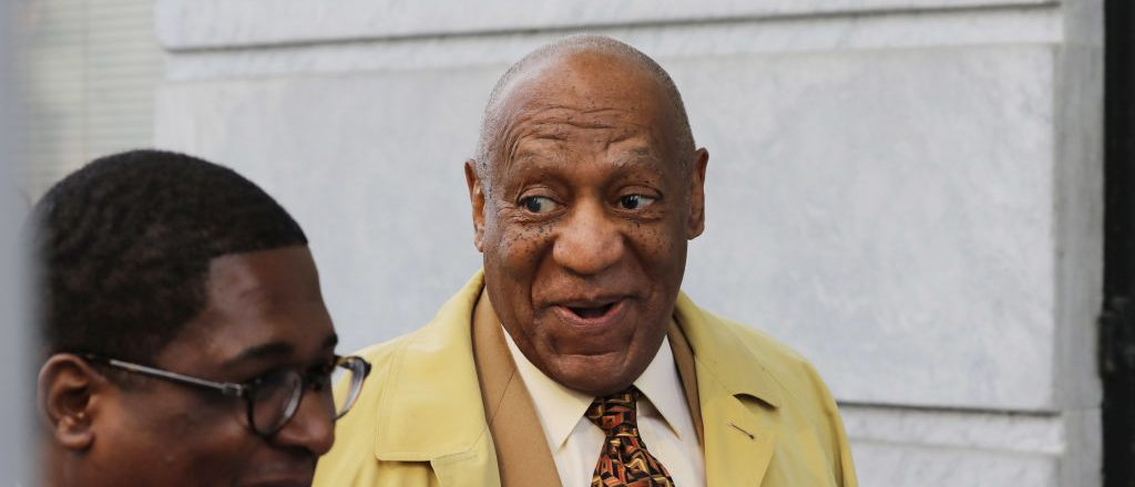 Comedian Bill Cosby(R) arrives for a pre-trial hearing at the Montgomery County Courthouse in Norristown, Pennsylvania, on February 27, 2017. His legal team is seeking to move the trial to another location citing what it calls unfair media coverage biasing the potential jury pool. (Photo credit: DOMINICK REUTER/AFP/Getty Images)