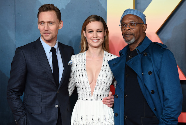 "LONDON, ENGLAND - FEBRUARY 28: Tom Hiddleston, Brie Larson and Samuel L Jackson attend the European premiere of ""Kong: Skull Island"" at the Cineworld Empire Leicester Square on February 28, 2017 in London, United Kingdom. (Photo by Ian Gavan/Getty Images)"