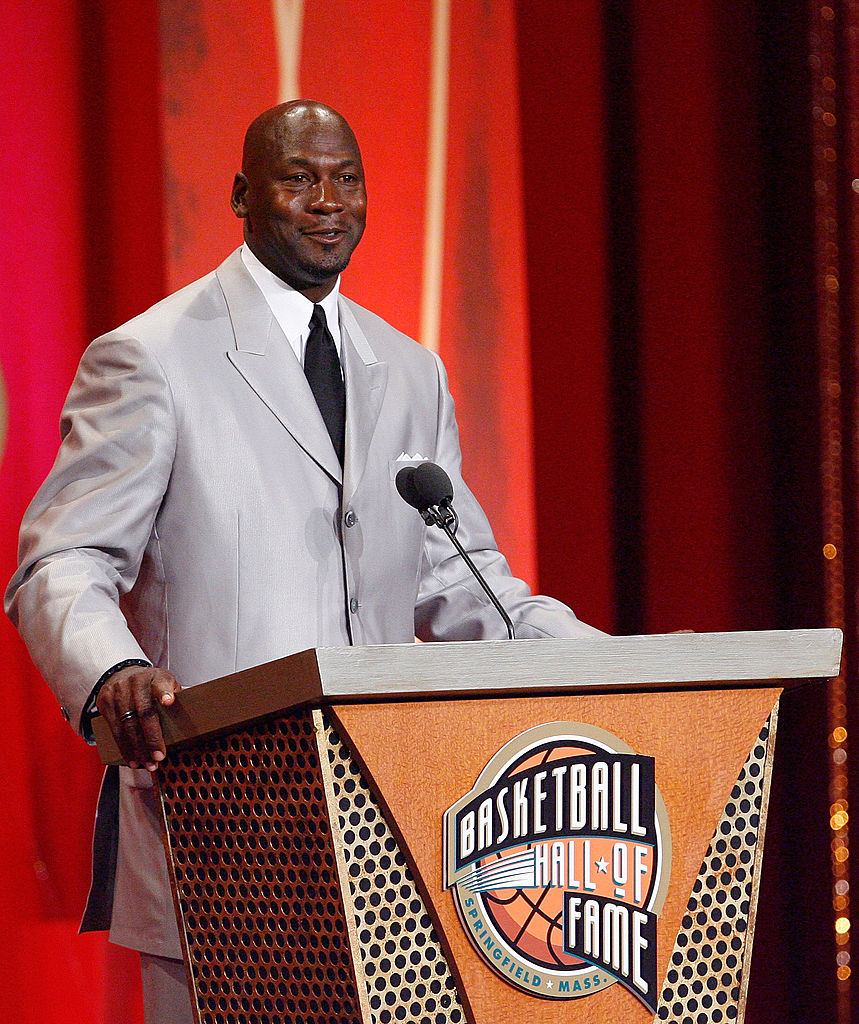Michael Jordan is inducted into the Naismith Memorial Basketball Hall of Fame during a ceremony on September 11, 2009 in Springfield, Massachusetts. NOTE TO USER: User expressly acknowledges and agrees that, by downloading and or using this Photograph, user is consenting to the terms and conditions of the Getty Images License Agreement.(Photo by Jim Rogash/Getty Images)