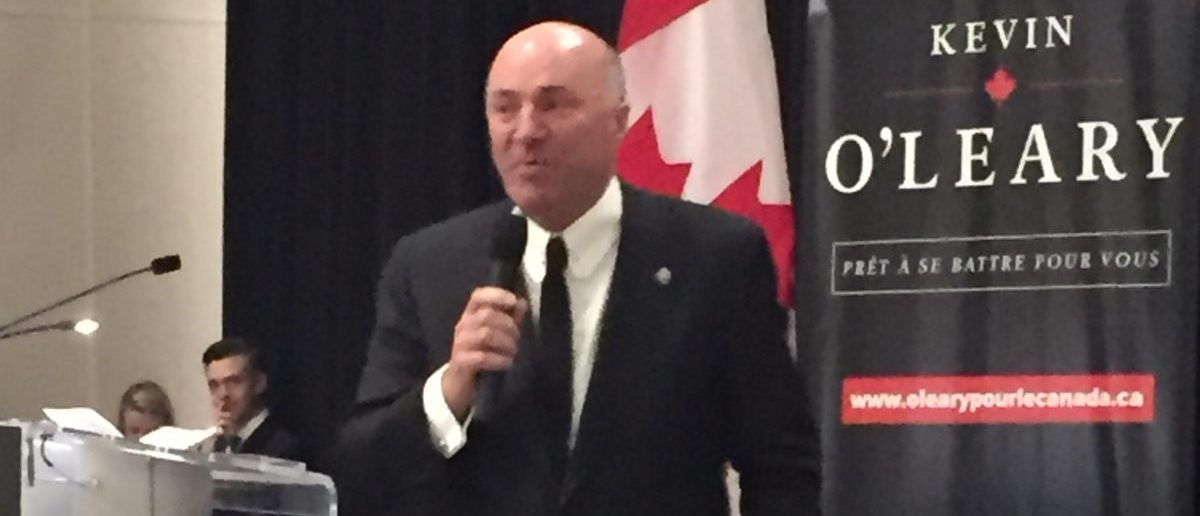 Kevin O'Leary speaks at a campaign event in Ottawa, Canada on Jan.31, 2017