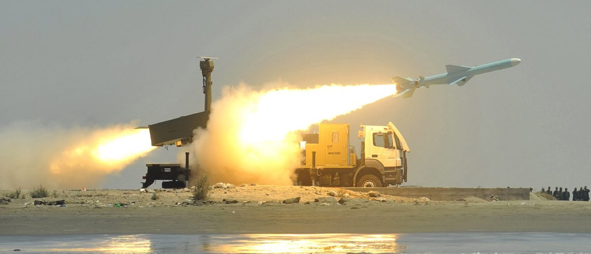 A Noor missile is fired from its launch vehicle during a war game by the Iranian army near Jask port in southern Iran May 11, 2010. Picture taken on May 11, 2010. REUTERS/IIPA/Abolfazl Nesaie