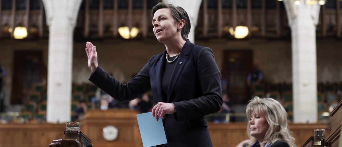 Canada's then-Labour Minister Kellie Leitch speaks during Question Period in the House of Commons on Parliament Hill in Ottawa February 24, 2015. REUTERS/Chris Wattie