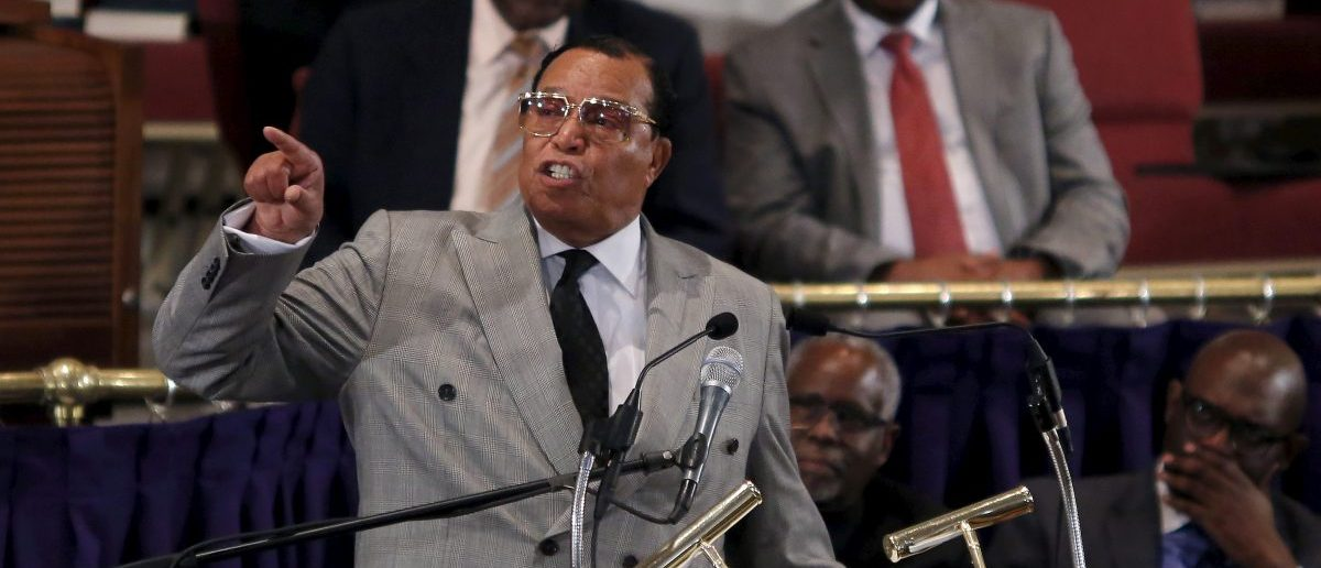 "Nation of Islam leader Louis Farrakhan addresses the audience at the metropolitan African Methodist Episcopal  Church in in Washington June 24, 2015. Farrakhan met with local leaders to discuss the upcoming ""Million Man March"" on October 10, 2015.  REUTERS/Carlos Barria  - RTR4YT6U"