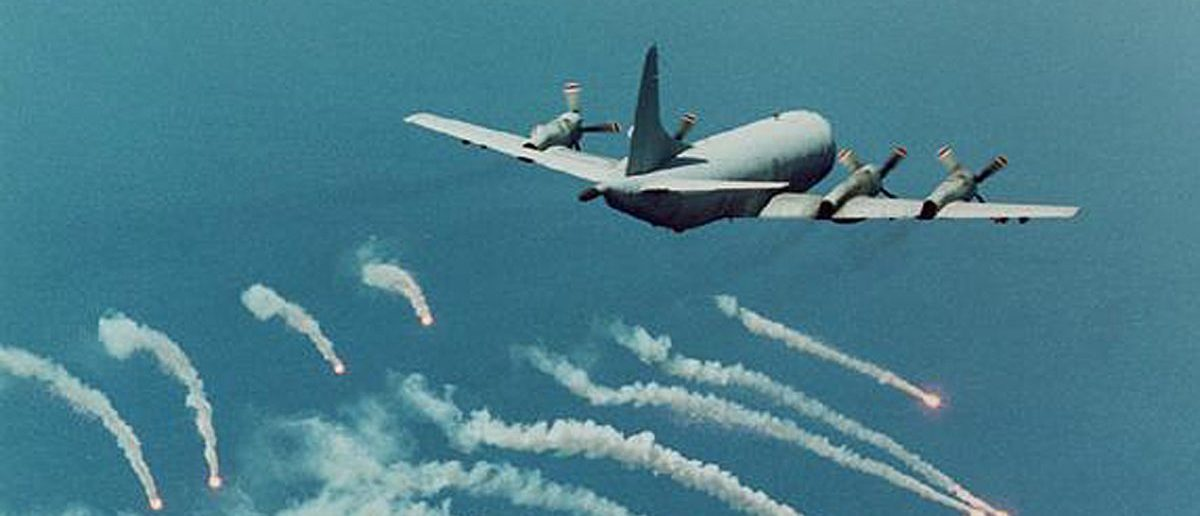 A U.S. Navy P-3C Orion fires self-defensive flares in preparation for a surveillance mission. CLH/U.S. (Reuters)