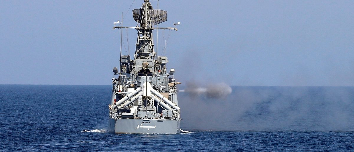 A Saudi warship fires a shell during ÒGulf Shield 1Ó exercise by members of Royal Saudi Navy, east of Saudi Arabia, October 9, 2016. REUTERS/Faisal Al Nasser