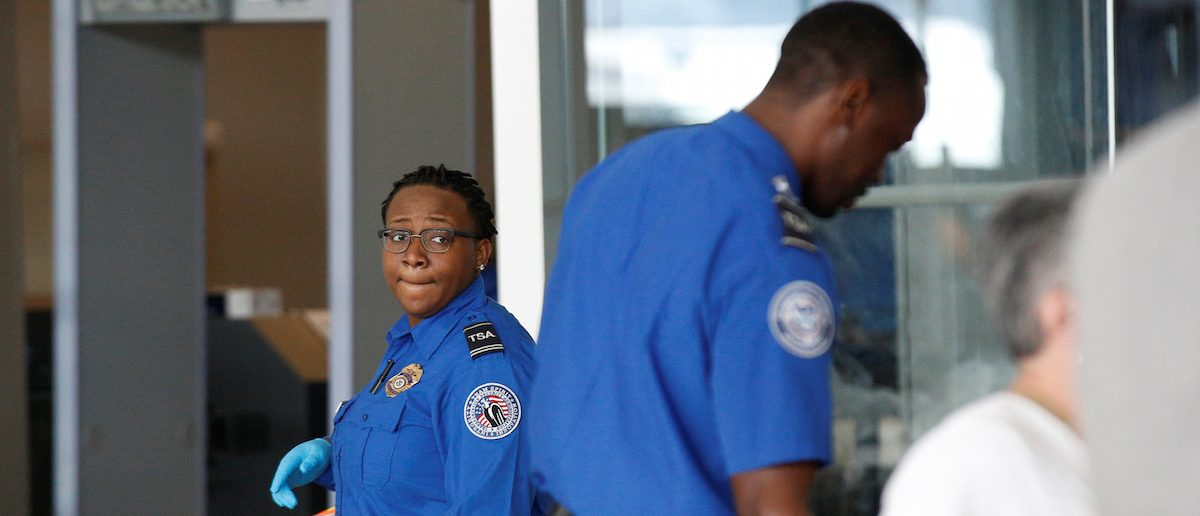 Transportation Security Administration (TSA) agents check-in passengers at JFK. REUTERS/Brendan McDermid