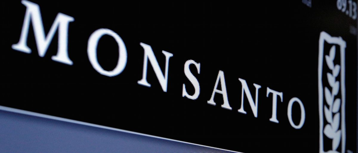 Monsanto logo is displayed on a screen where the stock is traded on the floor of the New York Stock Exchange (NYSE) in New York City, U.S. on May 9, 2016. REUTERS/Brendan