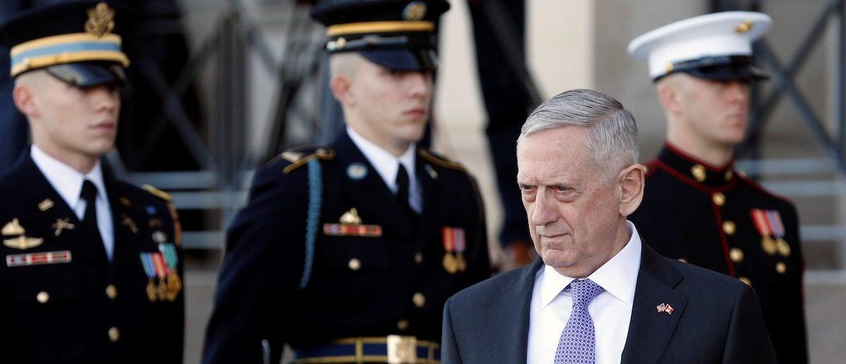U.S. Defense Secretary James Mattis waits to welcome Canada's Minister of National Defense Harjit Sajjan at the Pentagon in Washington, U.S., February 6, 2017. REUTERS/Yuri Gripas - RTX2ZX35