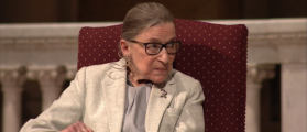 Justice Ruth Bader Ginsburg speaks at Stanford University in February 2017. Credit: YouTube screengrab https://www.youtube.com/watch?v=nLGLtUXXR1E