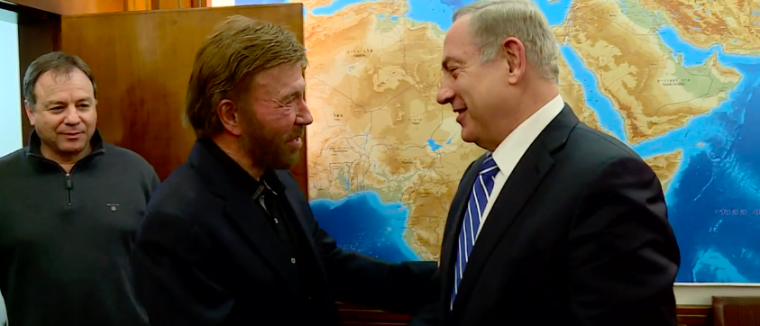 Chuck Norris meets Bibi Netanyahu (photo: YouTube Screenshot)