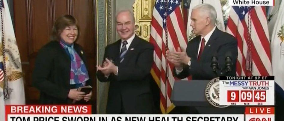 Betty Price, Tom Price, Mike Pence (CNN)
