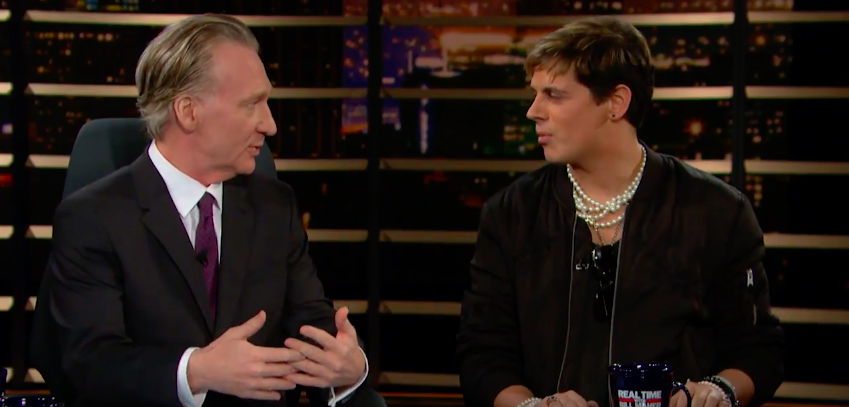 Bill Maher and Milo Yiannopoulos, screen capture from YouTube