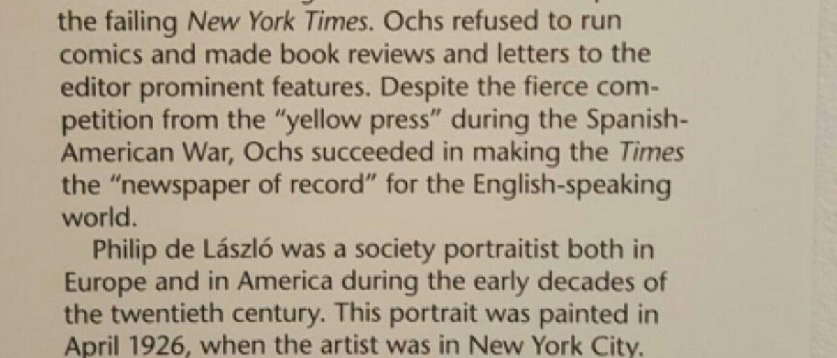 Adolph Ochs, The National Portrait Gallery, screenshot.