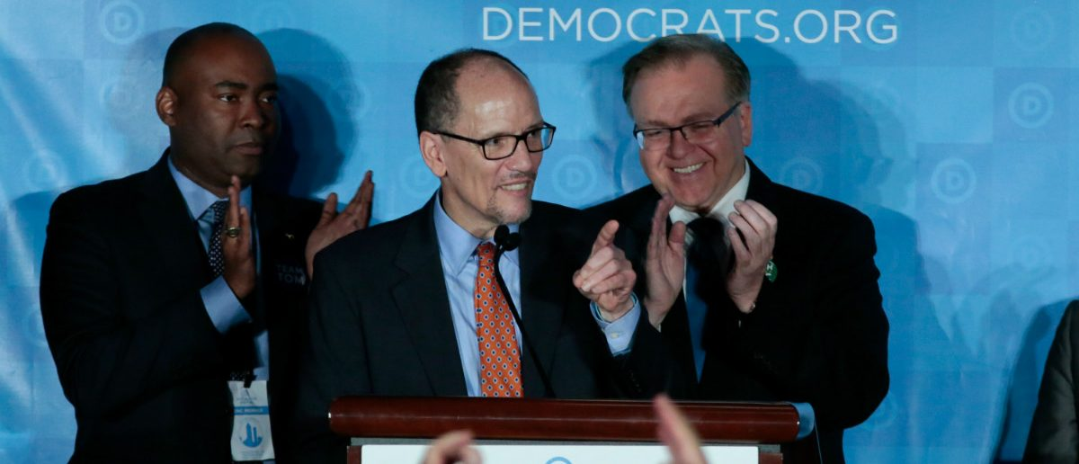 Tom Perez addresses the audience after being elected Democratic National Chair during the Democratic National Committee winter meeting in Atlanta, Georgia. February 25, 2017. REUTERS/Chris Berry