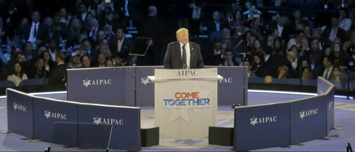 Then-Republican U.S. presidential candidate Donald Trump addresses the American Israel Public Affairs Committee (AIPAC) afternoon general session in Washington March 21, 2016. REUTERS/Joshua Roberts/File Photo