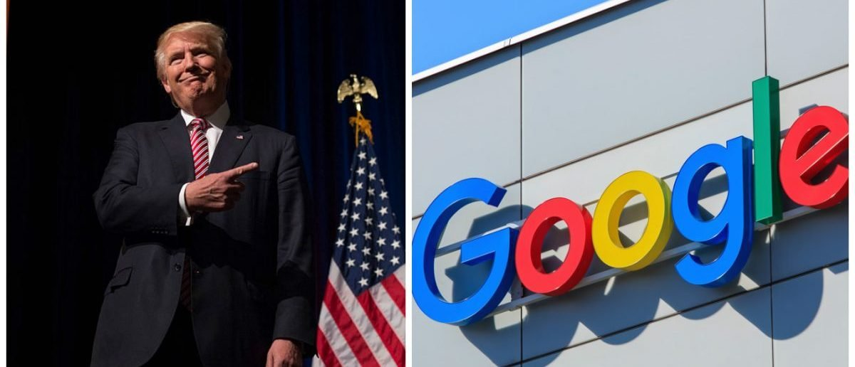 Left: Republican presidential nominee Donald Trump listens while his son Eric Trump speaks during a campaign event at Briar Woods High School August 2, 2016, in Ashburn, Virginia. (Photo credit: MOLLY RILEY/AFP/Getty Images) Right: Zurich, Switzerland - 20 April, 2016: sign on the wall of the Google office building. [Denis Linine / Shutterstock, Inc.]