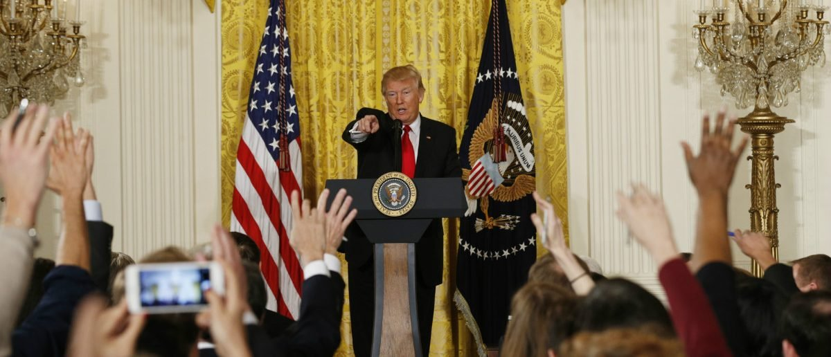 U.S. President Donald Trump takes questions during a news conference at the White House in Washington, U.S., February 16, 2017. REUTERS/Kevin Lamarque