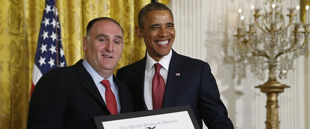 Obama honors Andres with the Outstanding American by Choice award during a naturalization ceremony at the White House in Washington