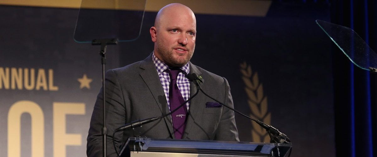 IAVA Founder and CEO Paul Rieckhoff speaks on stage at the 9th Annual IAVA Heroes Gala at the Cipriani 42nd Street on November 12, 2015 in New York City.  Jemal Countess/Getty Images.