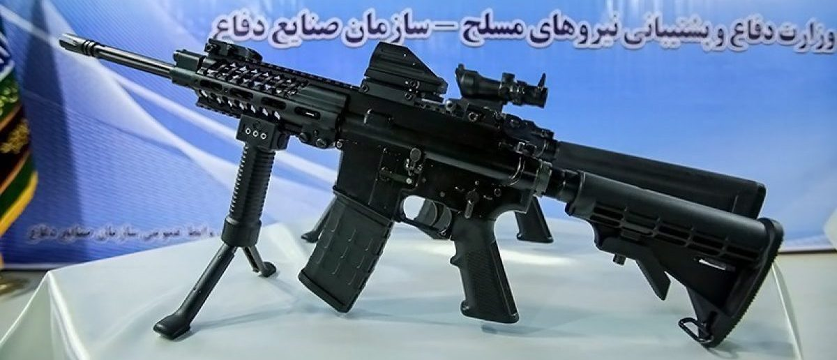 Iran exhibits its MASAF rifle, likely copied from the HK416. Source: Tasnim News Agency