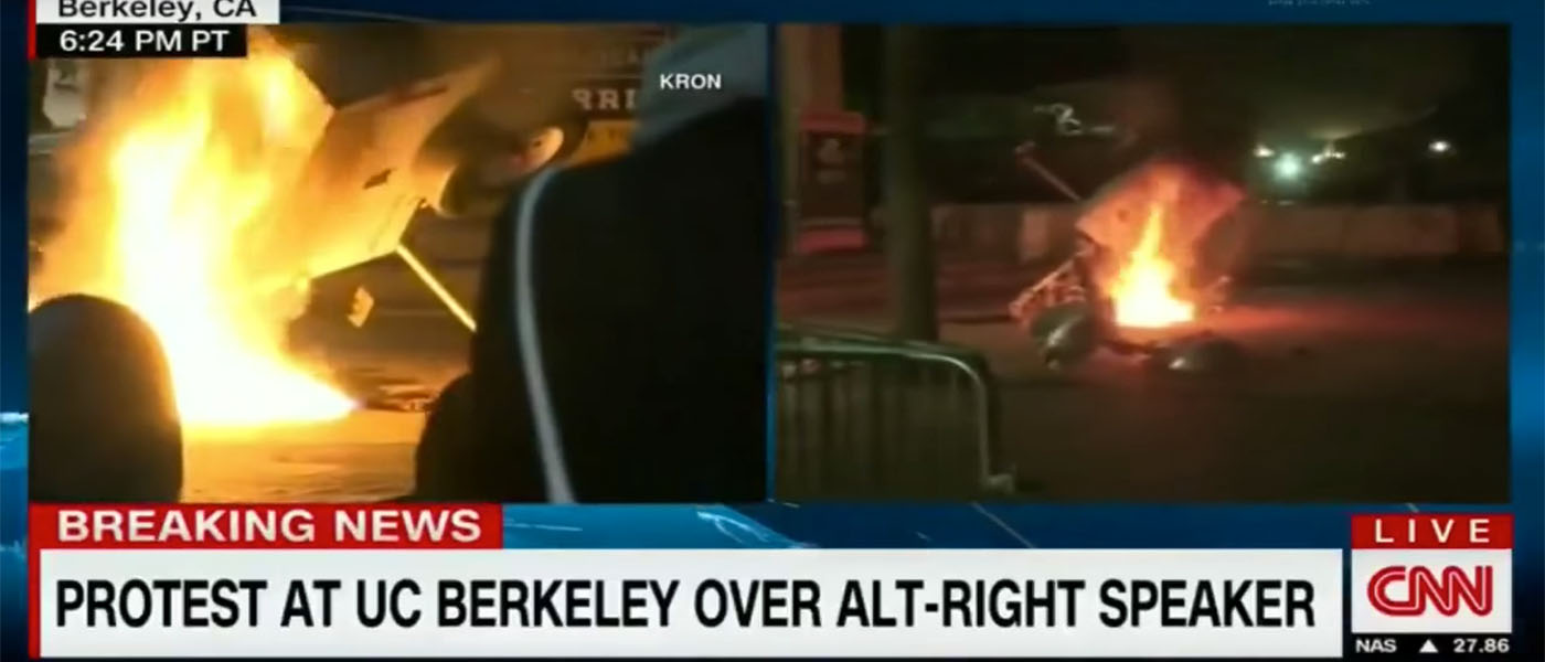 Protests erupt outside planned event. (Youtube screen shot/ YouHotNews)