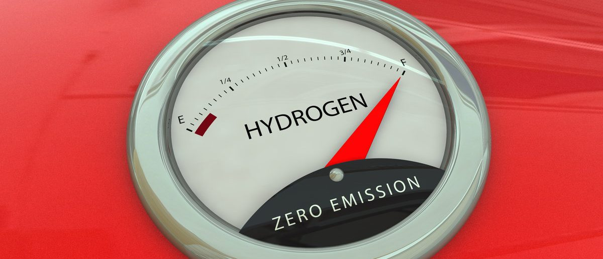 Hydrogen manometer, vintage fuel gauge on red car body (Shutterstock/A.Morando)