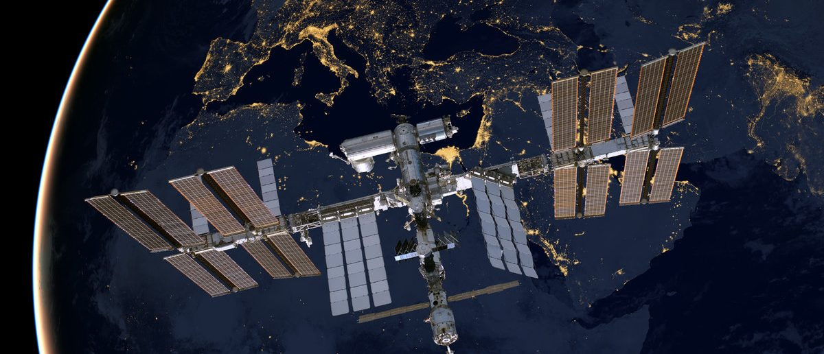 International Space Station over Europe. Elements of this image furnished by NASA. (Shutterstock/NASA images)