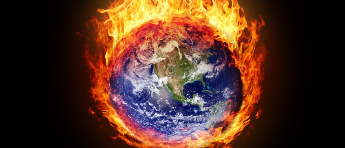 Burning globe earth (west hemisphere) - version with glowing (elements furnished by NASA) Credit: Boris Ryaposov/Shutterstock