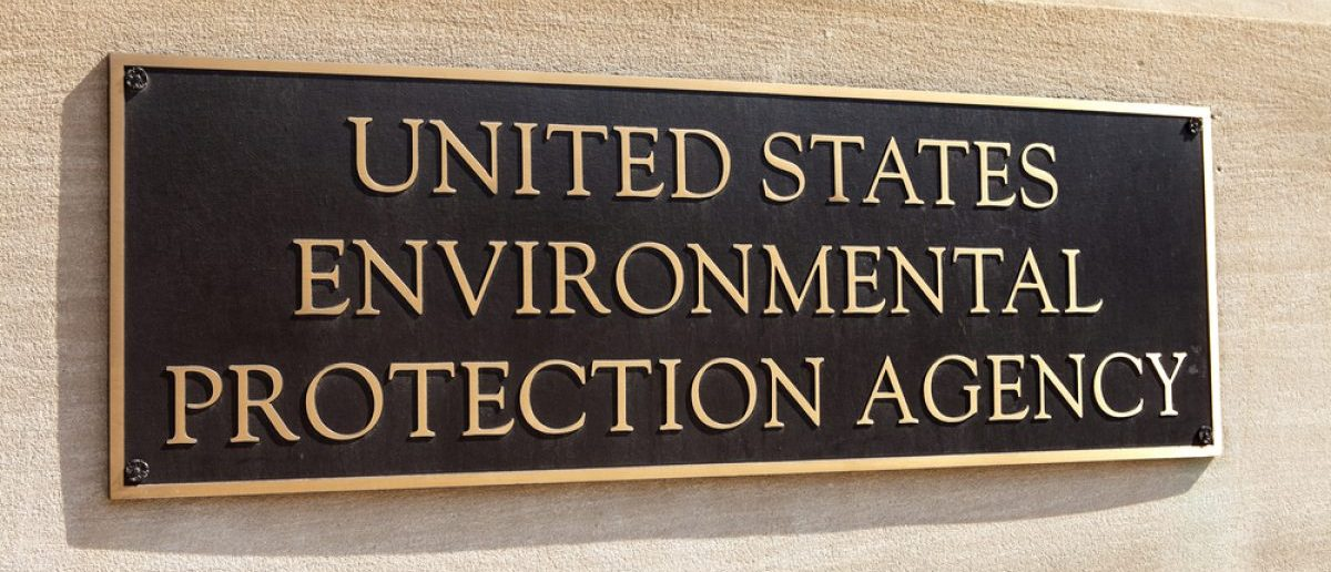 WASHINGTON, DC - MAY 4: Plaque outside the United States Environmental Protection Agency (EPA) in downtown Washington, DC on May 4, 2015. (Credit: Mark Van Scyoc/Shutterstock)