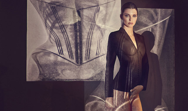 """Kendall Jenner poses in the Corset Jacket by La Perla. The """"key suiting concept"""" is from the fashion brands new ready-to-wear collection designed by creative director, Julia Haart. The company says it """"can go from the boardroom to evening."""" Kendall, 21, has previously appeared in campaigns for the company's lingerie line. Editorial use only. *Mandatory credit Splash/La Perla* Pictured: Kendall Jenner for La Perla Ref: SPL1437932 090217 Picture by: Splash News/La Perla Splash News and Pictures Los Angeles:"""