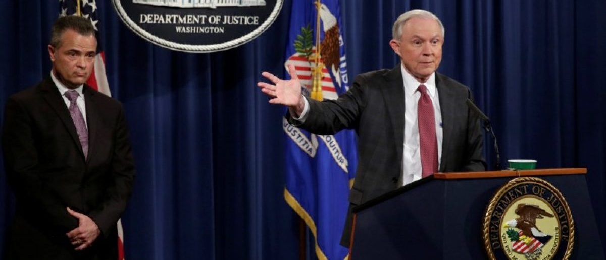 U.S. Attorney General Jeff Sessions speaks at a news conference at the Justice Department in Washington, U.S., March 2, 2017. REUTERS/Yuri Gripas