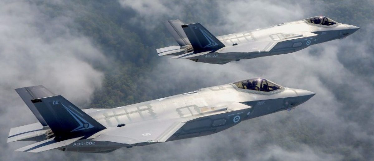 Two Lockheed Martin Corp F-35 stealth fighter jets fly to the Avalon Airshow in Victoria, Australia, March 3, 2017. Australian Defence Force/Handout via REUTERS