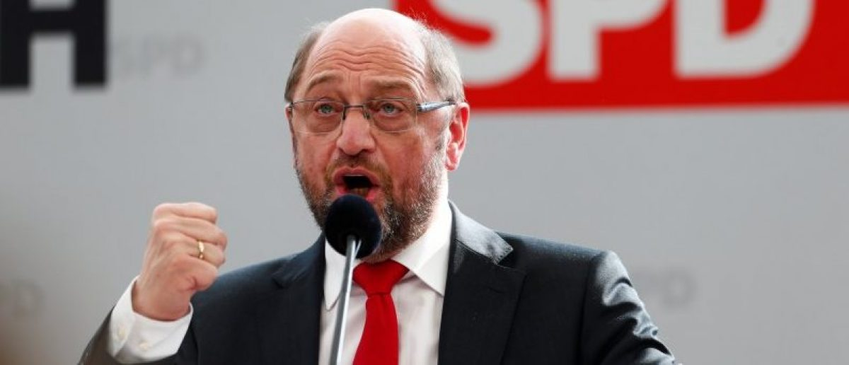 Social Democratic Party (SPD) leader Martin Schulz speaks during a traditional Ash Wednesday meeting in Vilshofen, Germany, March 1, 2017. REUTERS/Michaela Rehle