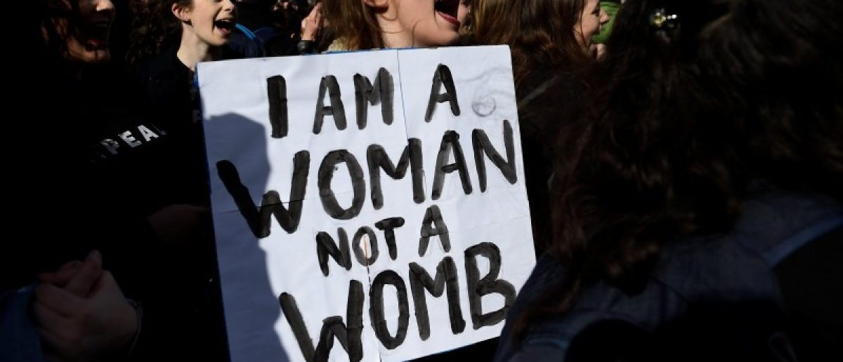 Campaigners stage a protest to demand more liberal abortion laws, in Dublin