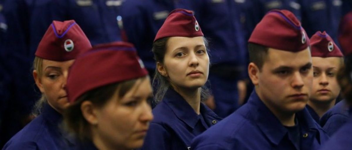 Hungarian border hunter recruits march at their swearing in ceremony in Budapest, Hungary, March 7, 2017. REUTERS/Laszlo Balogh