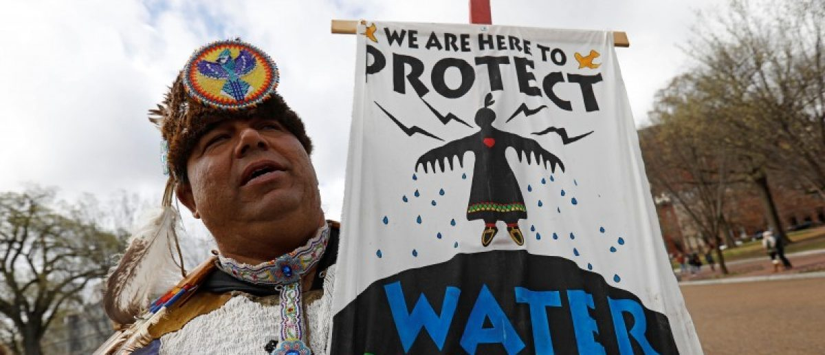 Jody Gaskin from Sault Ste. Marie, Michigan, takes part in a protest rally at the White House against the Dakota Access and Keystone XL pipelines.