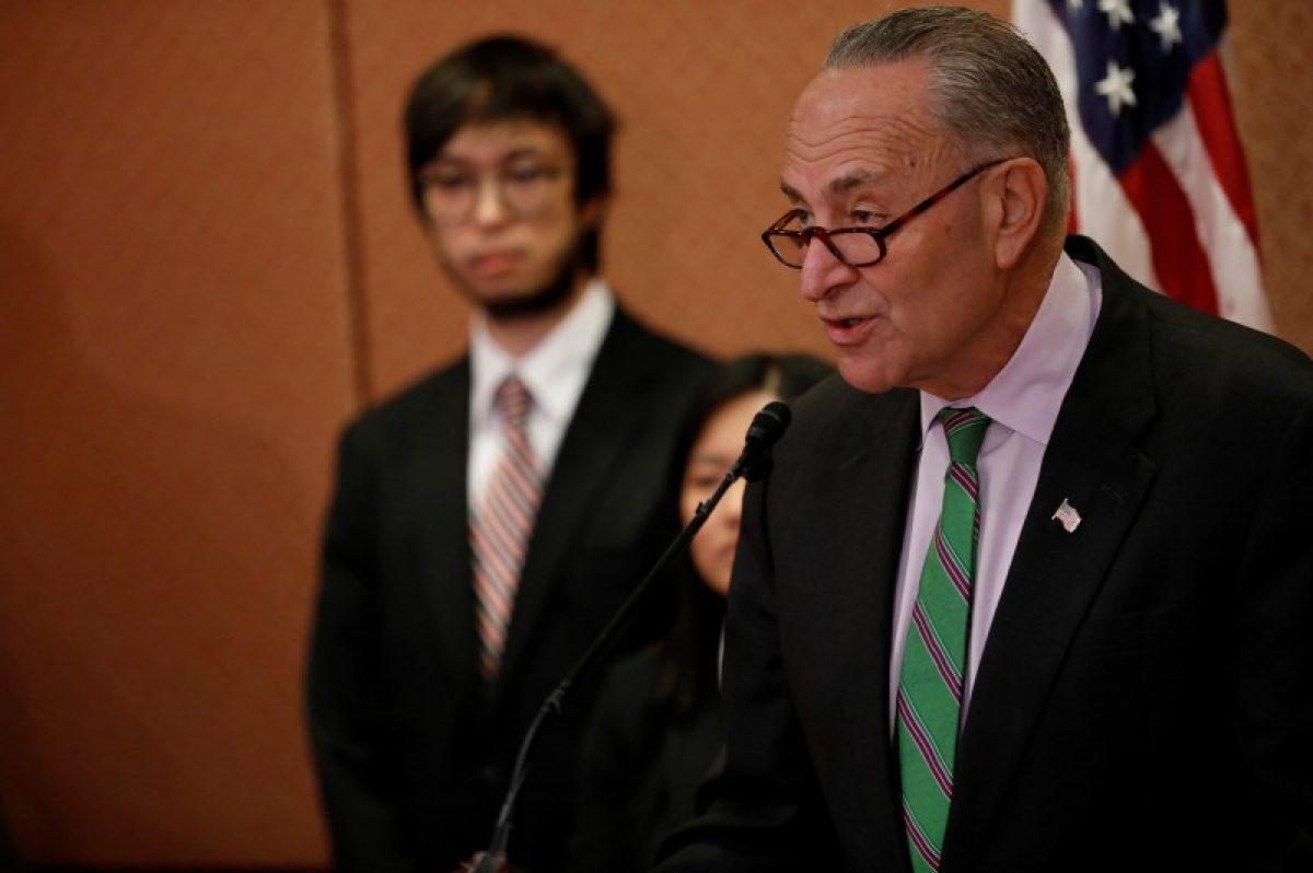 Senate Minority Leader Chuck Schumer speaks about Supreme Court Nominee Neil Gorsuch on Capitol Hill in Washington, D.C., U.S., March 15, 2017. REUTERS/Aaron P. Bernstein