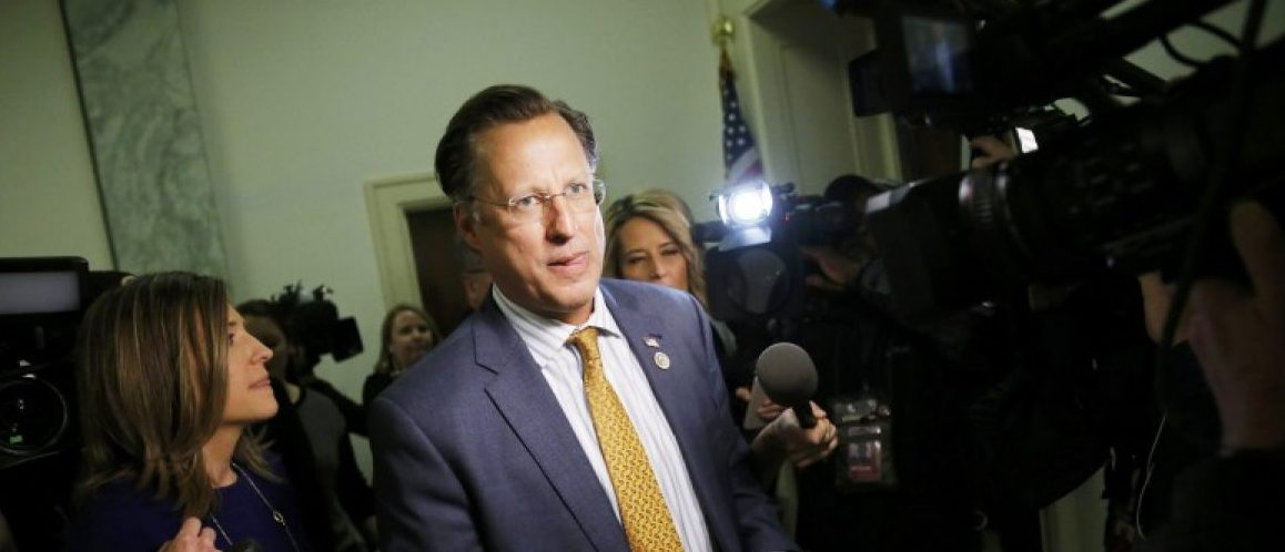 House Freedom Caucus member Rep. Dave Brat (R-VA) talks to reporters on Capitol Hill after meeting with President Donald Trump at the White House in Washington, U.S., March 23, 2017. REUTERS/Jonathan Ernst