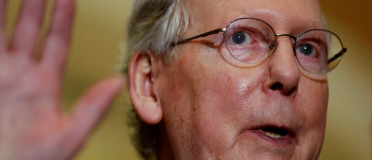 FILE PHOTO: U.S. Senate Majority Leader Mitch McConnell (R-KY) speaks to reporters at the U.S. Capitol in Washington, U.S. March 21, 2017. REUTERS/Jonathan Ernst