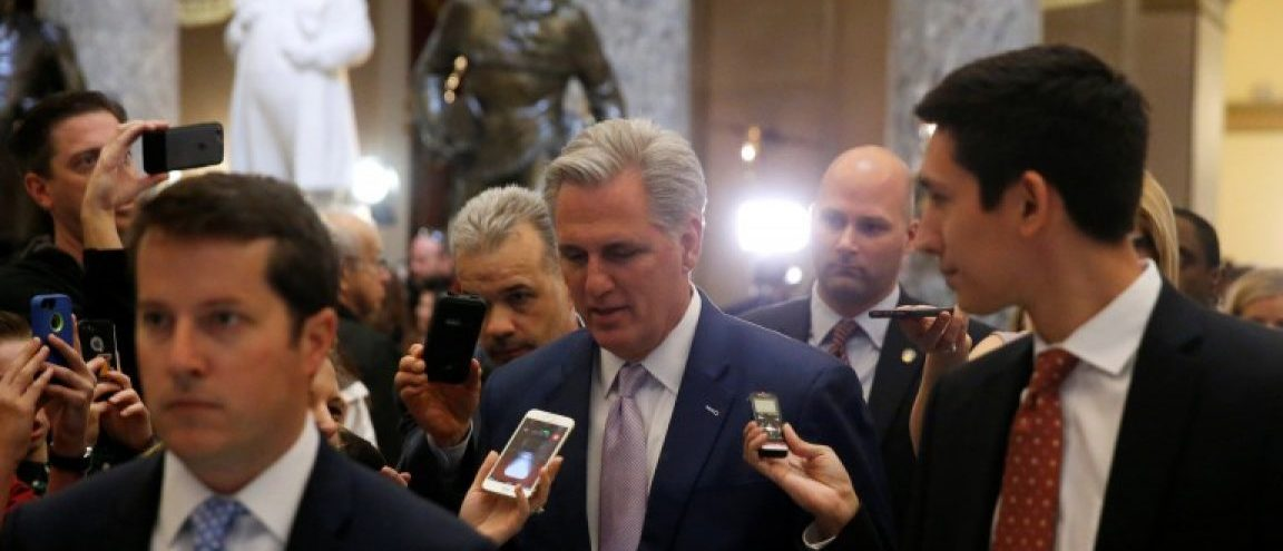 U.S. House Majority Leader Kevin McCarthy (R-CA) (C) is trailed by reporters after the House voted on a procedural measure to move ahead with health care legislation to repeal Obamacare at the U.S. Capitol in Washington, U.S., March 24, 2017. REUTERS/Jonathan Ernst